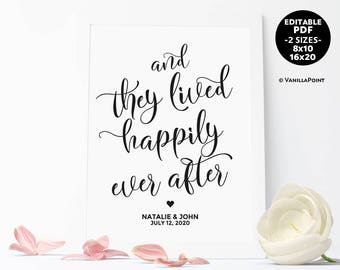 And They Lived Happily Ever After Wedding Sign Wedding Template Signs Download Printable And They Lived Happily Ever After Sign Editable PDF
