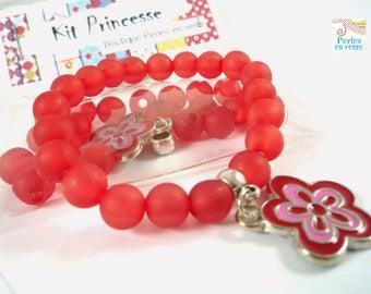 Princess Kit! Bracelet red charm beads enameled flower (kit51)