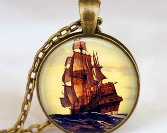 Sailboat pendant , Pirate Ship jewelry, Ship necklace , Nautical ship pendant , Sailboat jewelry