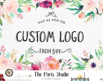 Benutzerdefinierte Floral Logo Design Floral Aquarell Logo Hand schreiben Logo Fotografie Logo Etsy Shop Logo Business Logo-Website Logo Blog Brandstempel