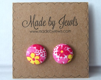 Pink Yellow and Red Floral Fabric Covered Hypoallergenic Button Post Stud Earrings 10mm
