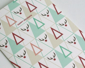 Christmas Card Triangle / Plaid / Rudolf / A6 / Large print