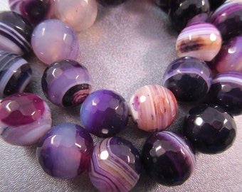 Purple Stripe Agate Faceted Round 14mm Beads 28pcs