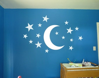 Moon and Stars - Decal Wall Vinyl Sticker Kids Room Starry Night Sky Dreams Float Nursery Entryway Playroom Wall Art Nursery Decor Baby Gift