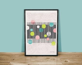 Zebra Crossing Art Print / Abstract Cityscape Print / A4 Art Print / Abstract Wall Art / Pedestrian Illustration / City Art Print