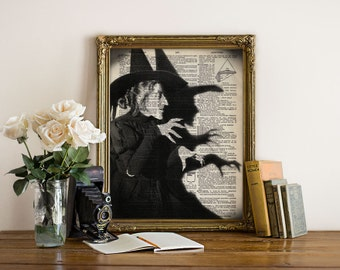 WICKED Witch Wizard of OZ Halloween Dictionary Art Print Poster Giclee Black and White Wall Decor Antique Book Page