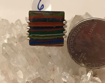 Rainbow Calsilica Party Ring  Size 6