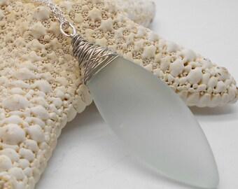 Beach Glass Necklace, Wire Wrapped Pale Green Beach Glass Necklace - Beach Wedding, Beach Glass, Sea Glass, Beach Glass Jewelry