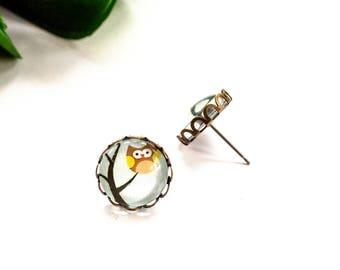 Owl Earrings, Owl Stud Earrings, Owl Jewelry, Glass Stud Earrings, Owl Jewelry, Owls Earrings, Owl Earring Studs, Bird Earrings