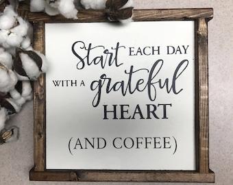 Grateful heart coffee sign