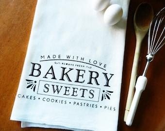 Tea Towel, Bakery Sweets Screen Printed Flour Sack Dish Towel, Foodie Gift, Baker Gift, Farmhouse Decor, Farmhouse Kitchen