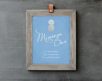 Printable Mimosa Bar Sign, Mimosa Bar Printable, Wedding Sign, Wedding PDF, DIY Bridal Shower Decor, Brunch and Bubbly, Winter Wedding Sign