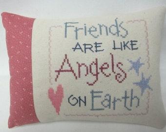 Friend Mini Pillow Cross Stitch Friends Are Like Angels Shelf Pillow
