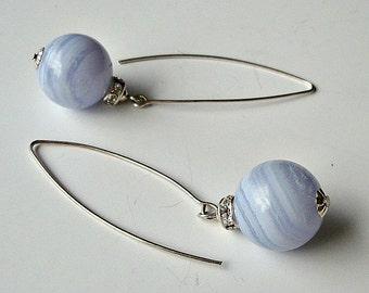 Blue Lace Agate set. Blue Lace Agate Earrings. Blue Lace Agate Pendant. Blue Agate jewelry.