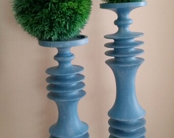Blue ,White Wash Modern - Wood Tall Candlesticks-Candle Holders