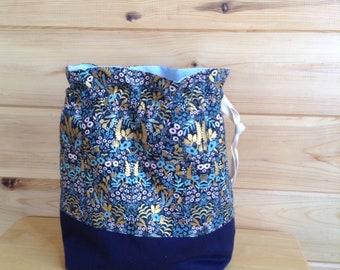 Knitting Bag, Project Bag, Knitting Sack, Crochet Bag, Sock Knitting Bag, Shawl Knitting Bag