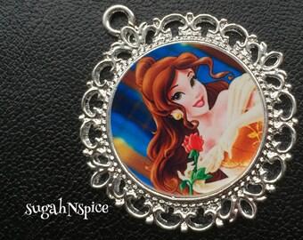 Princess Belle Pendant - Princess Belle Necklace - Belle Necklace - Beauty and the Beast Pendant - Beauty and the Beast Necklace