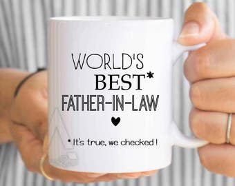 "gifts for father in law ""world's best father in law"" mug, father in law gift, fathers day gift, father in law wedding gift, coffee mug MU585"