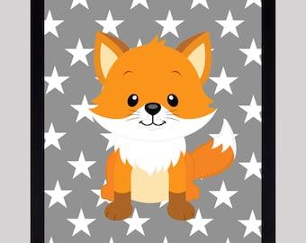 Cute Fox Print, Woodland Nursery, Nursery Decor, Baby Print, Animals Art, CUSTOMIZE YOUR COLORS Nursery Decor, Woodland Art, Baby Room Decor