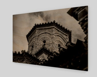 Greece Monastery Wood Print, 1:50 Limited Edition / home decor / decoration / photo / photography / black and white /. lux .. modern ./