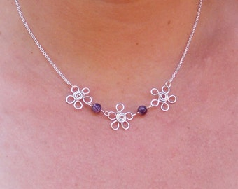 Amethyst Daisy Wire Pendant, Wire Flower Necklace