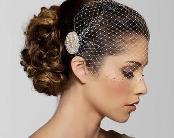 Birdcage veil, Wedding Veil, Rhinestone edge, Bandeau Bird cage Veil, Rhinestone Veil, Crystal Veil, Bird Cage Veil, Wedding Birdcage veil