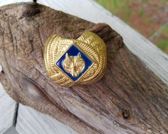 Boy Scouts of America Pressed Metal Neckerchief Slide with Wolf Insignia