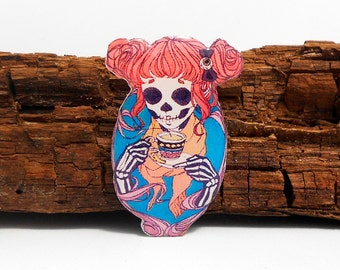 Day of the dead, Skeleton girl skull girl with tea, skeleton brooch, skull jewelry, skeleton jewelry, skeleton pin