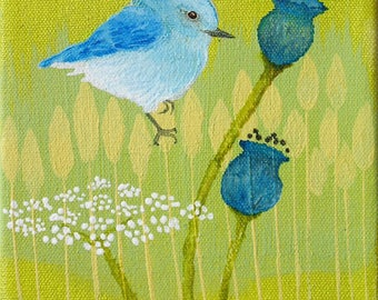 Original Acrylic Blue Bird Painting 6 by 6 inches on stretch canvas