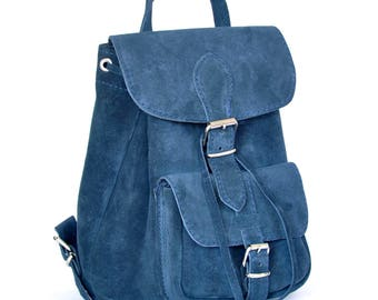 Small  suede leather backpack / Women suede leather backpack / Small leather pouch / Small suede bag