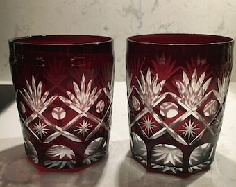 2 Vintage Ruby Red Cut To Clear Glass Inserts for Pickle Casters