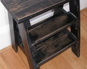 Step adder, stool,  black, distressed,  gift idea
