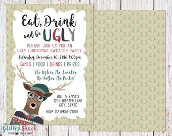 Hipster Ugly Christmas Sweater Party Invitation For Geeks, Nerds And Hipsters, Eat Drink And Be Ugly Invite