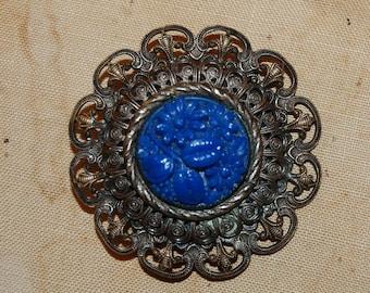 Antique Flower Brooch Gold Gilt Filigree Beautiful Blue Carved Floral Pin Art Nouveau Era