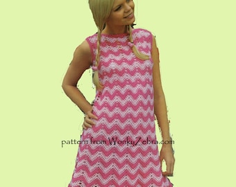 Crochet ZigZag Ripple Chevron Dress Pattern PDF WZ640 from WonkyZebra