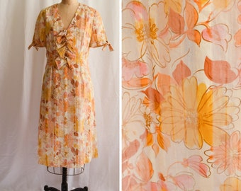 1960s Dress | Autumn Floral | Vintage 60's Dress Sheer Stripe with Amber Flower Print Ruffle Front with Buttons Short Sleeve Sz XL Bust 40""