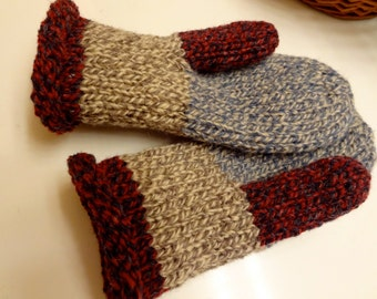 Toasty Warm Women's Mittens Hand Knit Wool Mittens 100% Wool Size Medium with Double Thickness FREE Shipping