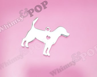 1 - Stainless Steel Pet Silhouette Beagle Dog Charm, Beagle Charm, Beagle Charm, Dog Charm, 30mm x 24mm (2-1B)