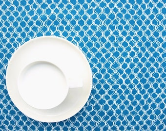 Tablecloth bright blue white wires , table runner , napkins , curtains , pillows available, great GIFT