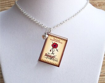 The Scarlet Pimpernel - with Tiny Heart Charm -Miniature Book Necklace