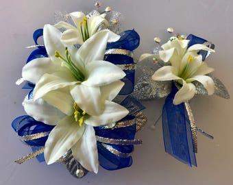 Cobalt Blue Prom Corsage Set (artificial flowers)