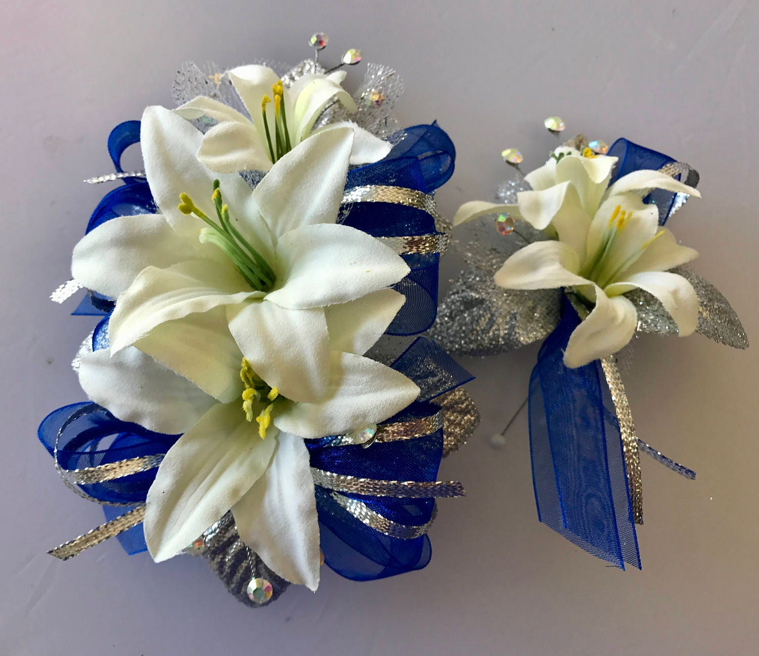 Cobalt blue prom corsage set artificial flowers zoom izmirmasajfo Gallery