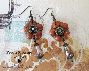 Rust and Blue Hibiscus resin crystal brass Dangle Earrings Handmade One of a Kind