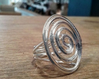 Spiral Ring Sterling Silver 925 Silver Adjustable Ring OOAK Handmade, Gift for Her, Made in Greece