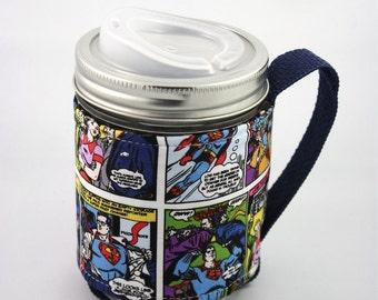 ReFluff, eco friendly, mason jar cozy, mason jar sleeve, hand made, comic book, cuppow, starbucks, comics, superman, lois lane, Clark Kent