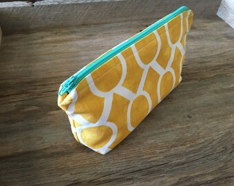 Yellow & white medium zipper pouch with turqoise zipper, cosmetic pouch, coin purse, handmade cotton zipper pouch, lined zipper pouch