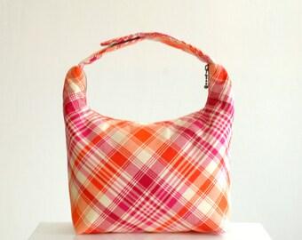 Girl School Lunch Bag,Insulated Lunch Bag, Fabric Lunch Bag, Women Lunch Tote, Small Handbag, Pink Tangerine Diagonal Checker Joel Dewberry