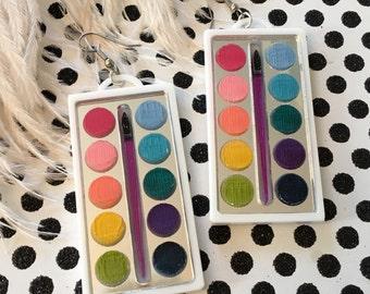 Watercolor Paint Box Earrings, Laser Cut Acrylic, Plastic Jewelry