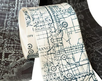 Los Angeles Map Silk Necktie. Old California Map Men's Tie Silver Screen Oscar Party Academy Awards Hollywood wedding West Coast LA Map