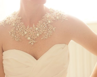 Bridal Crystal Gold and Blush Statement Necklace, Bridal Swarovski Crystal Lace Necklace